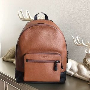 new coach men's leather backpack